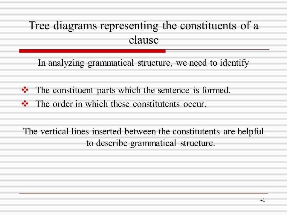 41 Tree diagrams representing the constituents of a clause In analyzing grammatical structure, we need to identify  The constituent parts which the s