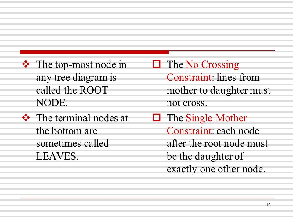 46  The top-most node in any tree diagram is called the ROOT NODE.  The terminal nodes at the bottom are sometimes called LEAVES.  The No Crossing