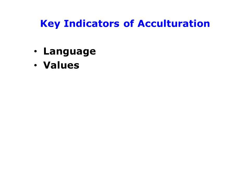 Key Indicators of Acculturation Language Values