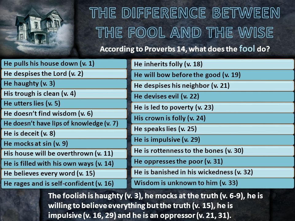 According to Proverbs 14, what does the fool do. The foolish is haughty (v.