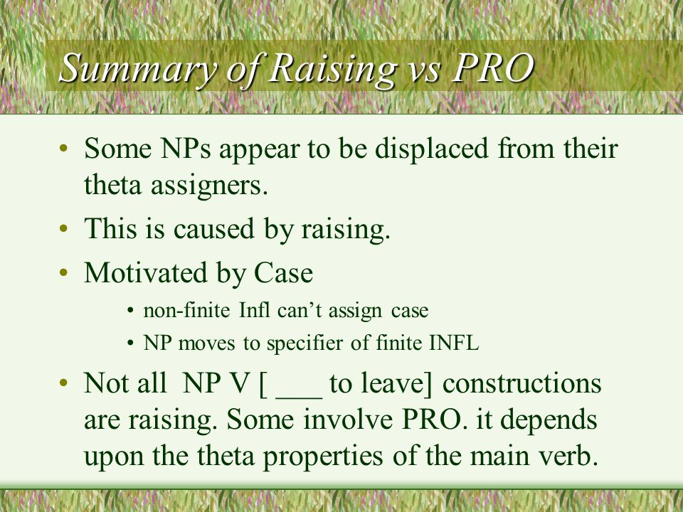 Summary of Raising vs PRO Some NPs appear to be displaced from their theta assigners.