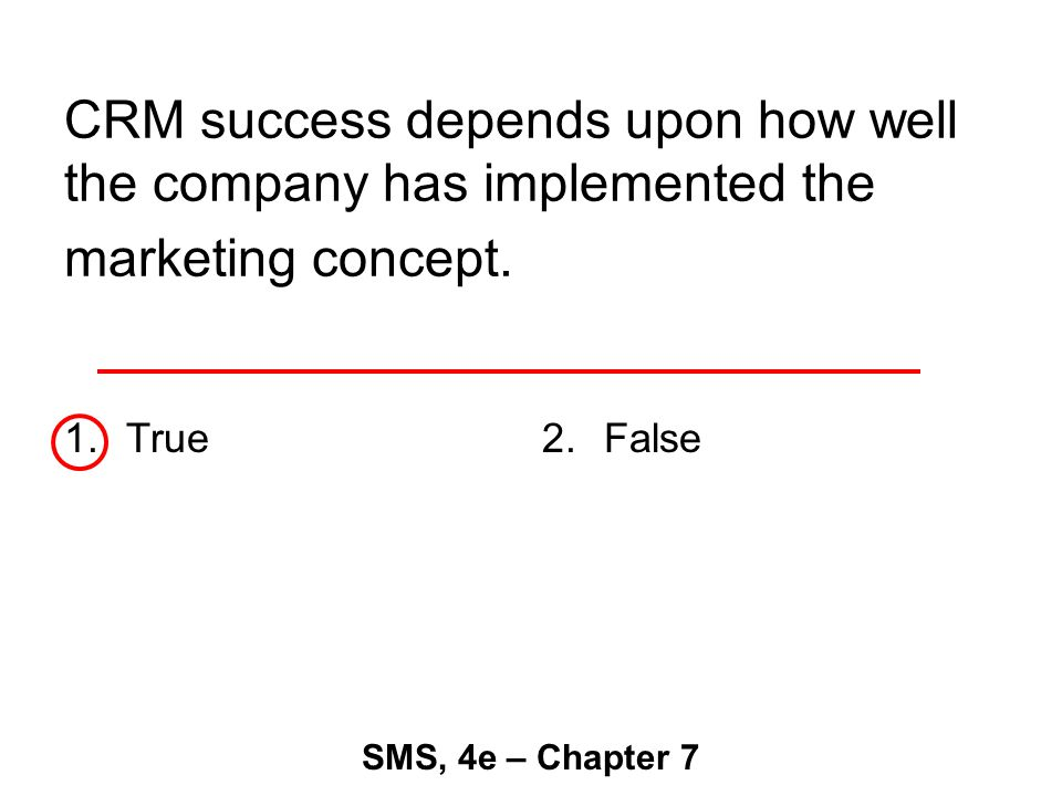CRM success depends upon how well the company has implemented the marketing concept.