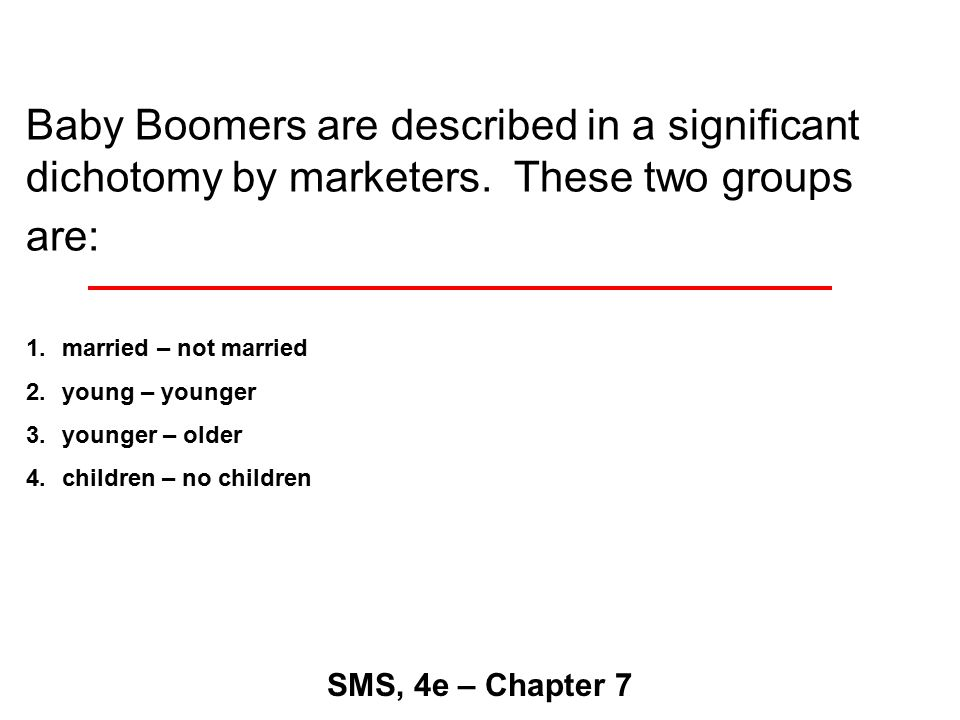 Baby Boomers are described in a significant dichotomy by marketers.