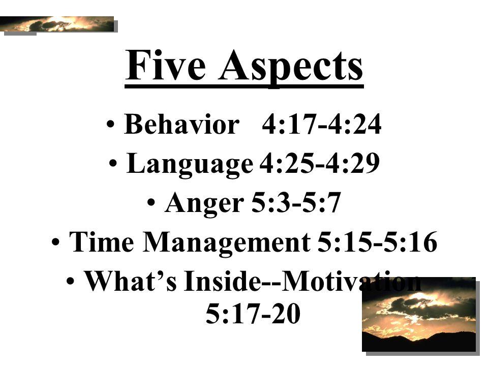Five Aspects Behavior 4:17-4:24 Language 4:25-4:29 Anger 5:3-5:7 Time Management 5:15-5:16 What's Inside--Motivation 5:17-20