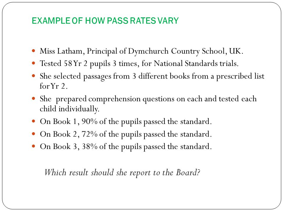 EXAMPLE OF HOW PASS RATES VARY Miss Latham, Principal of Dymchurch Country School, UK.
