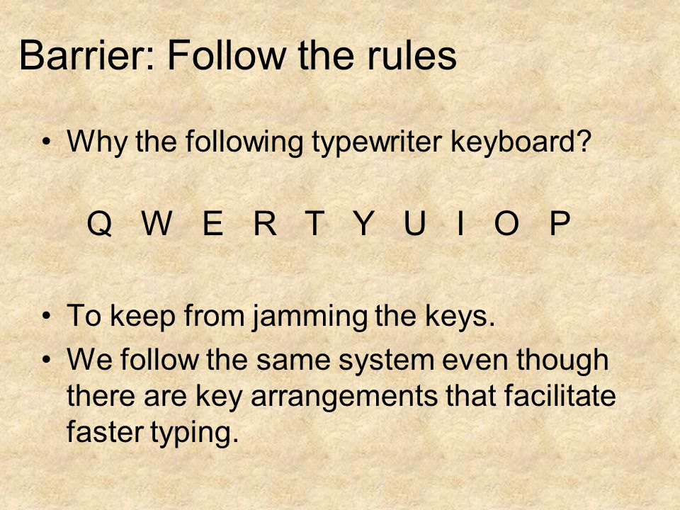 Q W E R T Y U I O P Why the following typewriter keyboard.