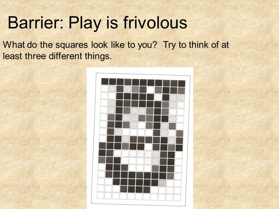 What do the squares look like to you. Try to think of at least three different things.