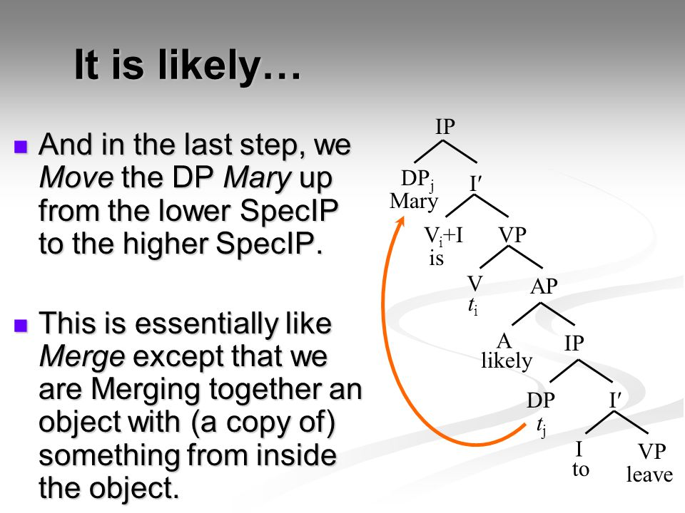 It is likely… And in the last step, we Move the DP Mary up from the lower SpecIP to the higher SpecIP. And in the last step, we Move the DP Mary up fr