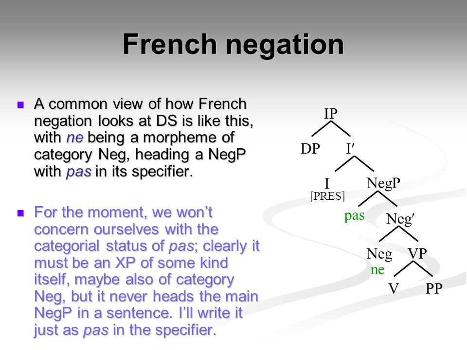 French negation Note that we take ne to be a prefix (not a suffix), which means when we create the complex head, the verb adjoins on the right.