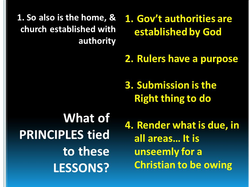 What of PRINCIPLES tied to these LESSONS. 1. Gov't authorities are established by God 2.