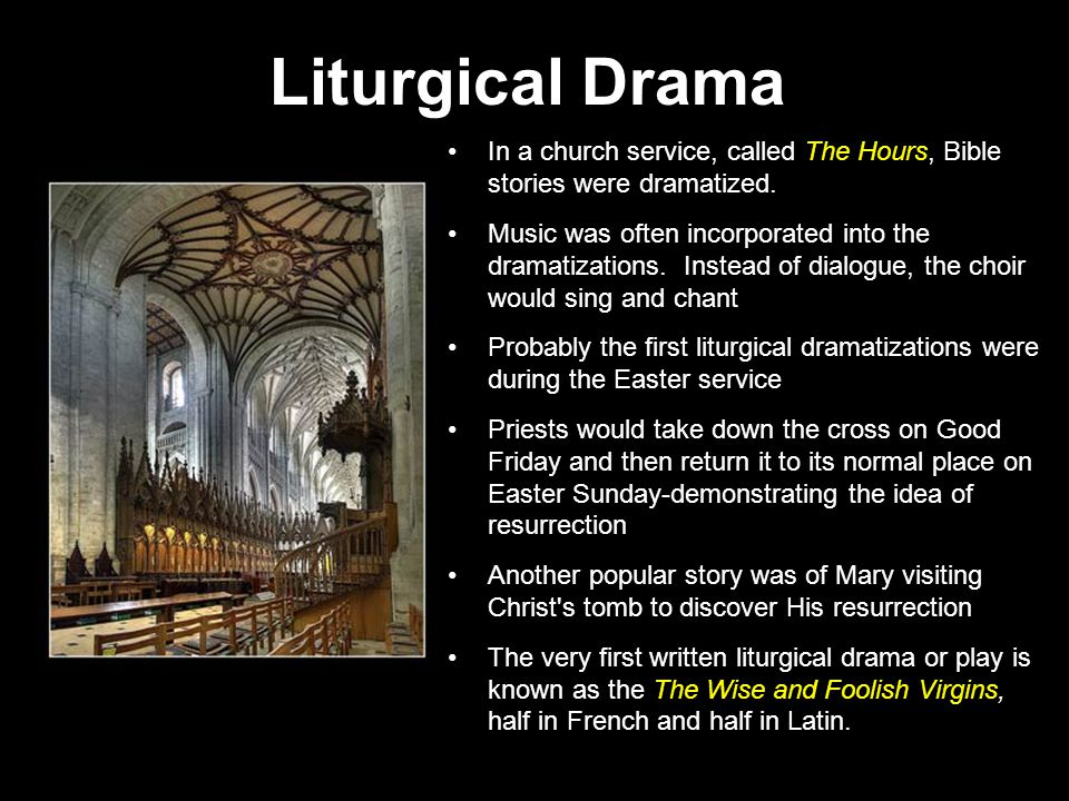In a church service, called The Hours, Bible stories were dramatized.
