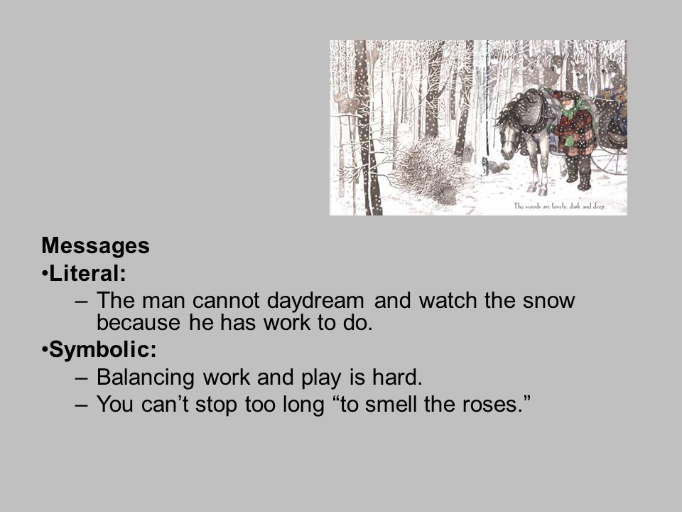 Messages Literal: –The man cannot daydream and watch the snow because he has work to do. Symbolic: –Balancing work and play is hard. –You can't stop t
