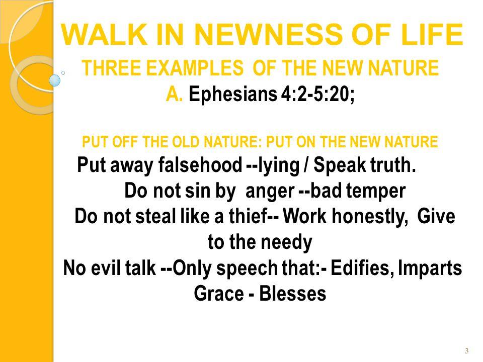 3 THREE EXAMPLES OF THE NEW NATURE A. Ephesians 4:2-5:20; PUT OFF THE OLD NATURE: PUT ON THE NEW NATURE Put away falsehood --lying / Speak truth. Do n