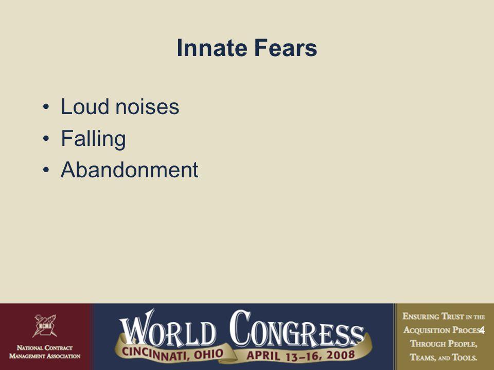 4 Innate Fears Loud noises Falling Abandonment