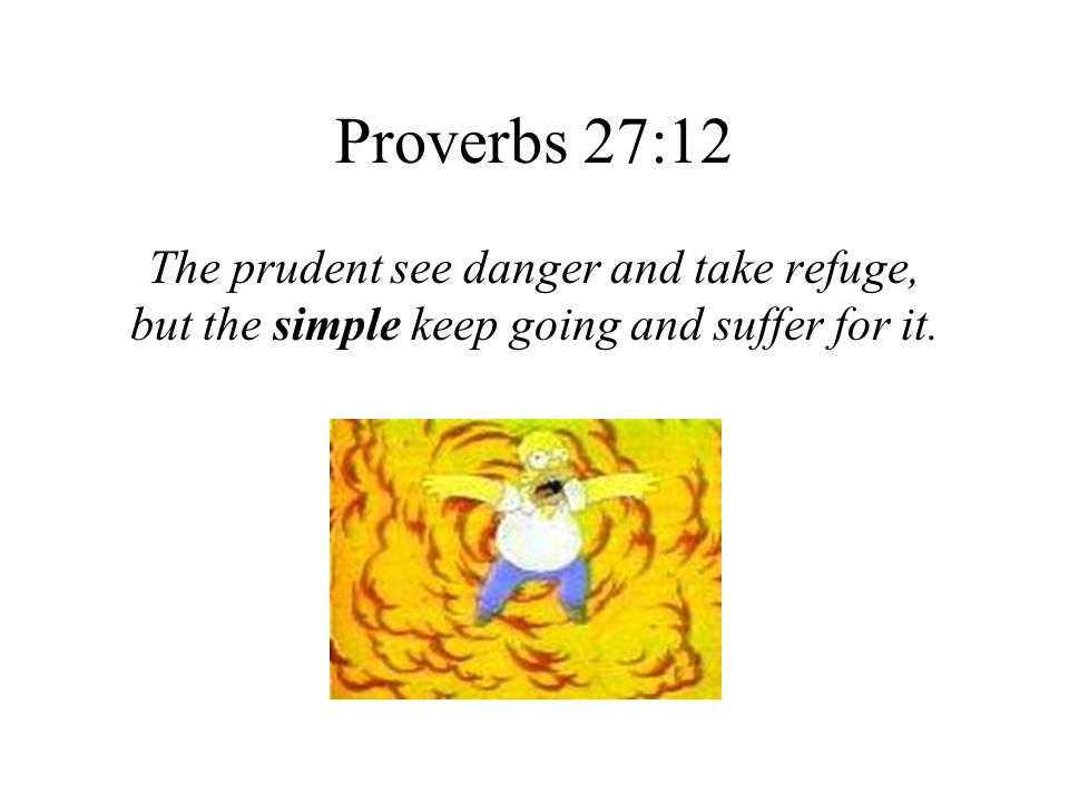 Proverbs 27:12 The prudent see danger and take refuge, but the simple keep going and suffer for it.