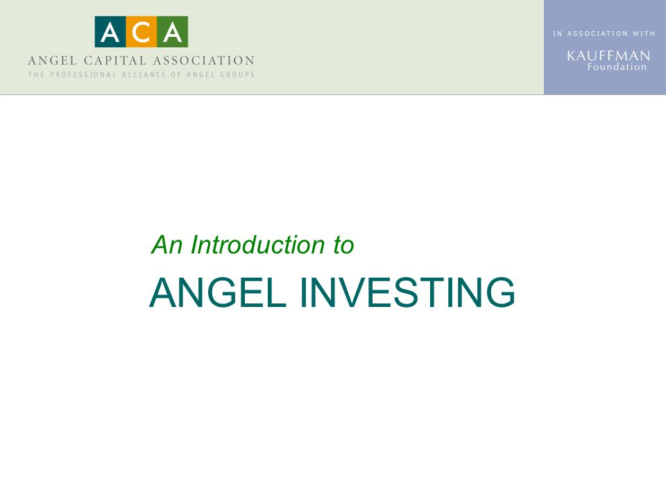 ANGEL INVESTING An Introduction to