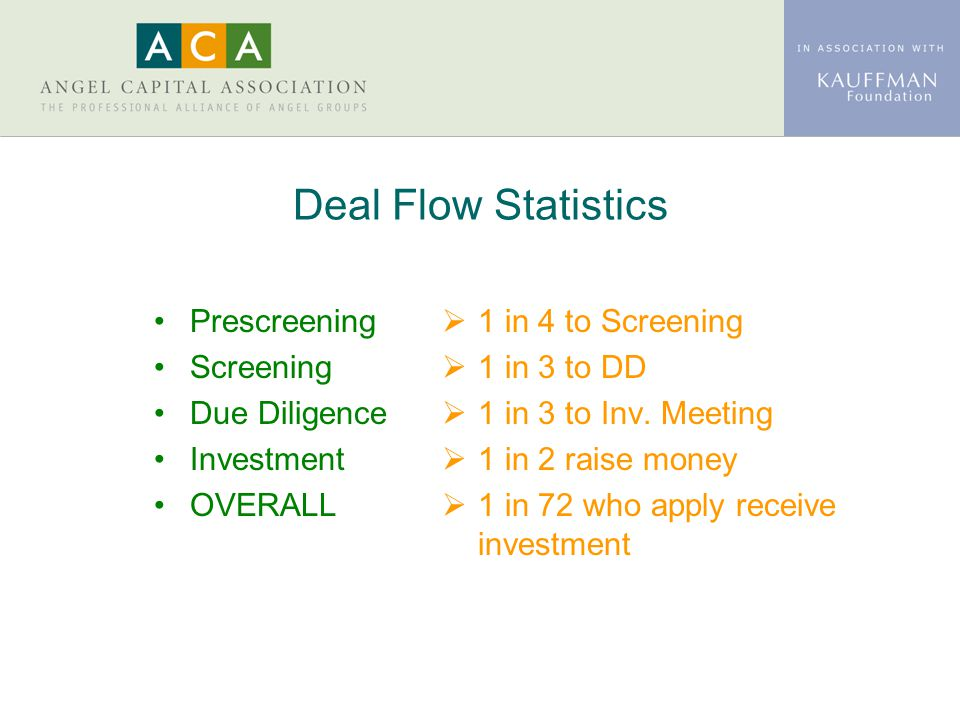 Deal Flow Statistics Prescreening Screening Due Diligence Investment OVERALL  1 in 4 to Screening  1 in 3 to DD  1 in 3 to Inv. Meeting  1 in 2 ra