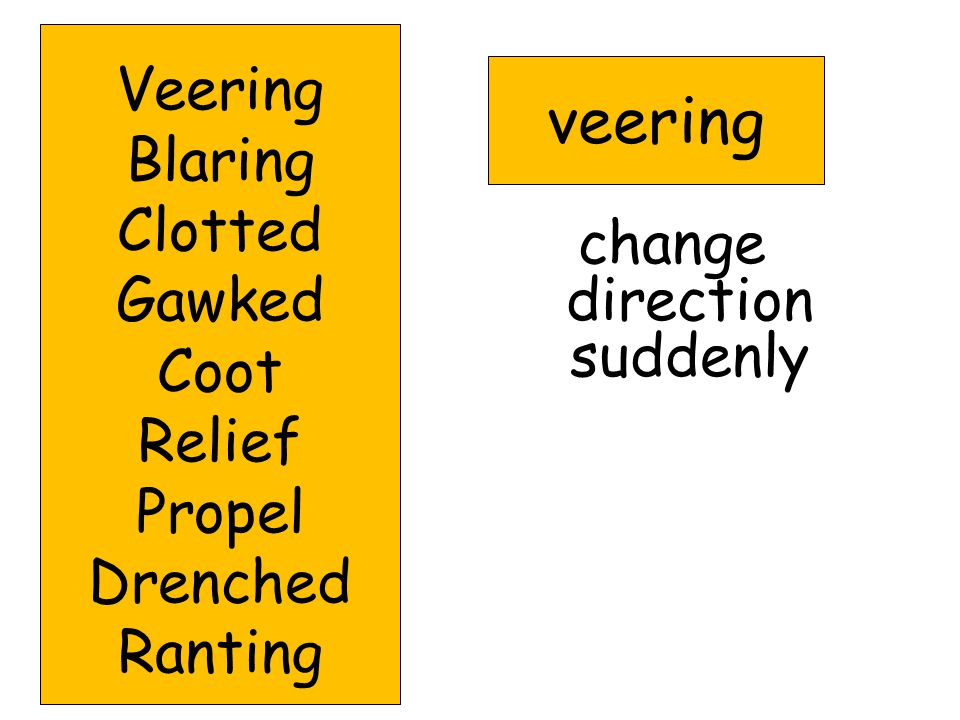 Words to Know veering 57 blaring 59 clotted 60 gawked 62 coot 64 relief 59 propel 60 drenched 60 ranting 61
