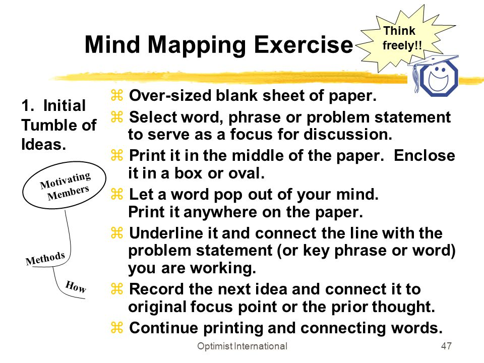 Optimist International47 Mind Mapping Exercise z Over-sized blank sheet of paper. z Select word, phrase or problem statement to serve as a focus for d