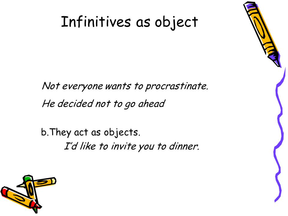 Infinitives as object Not everyone wants to procrastinate.