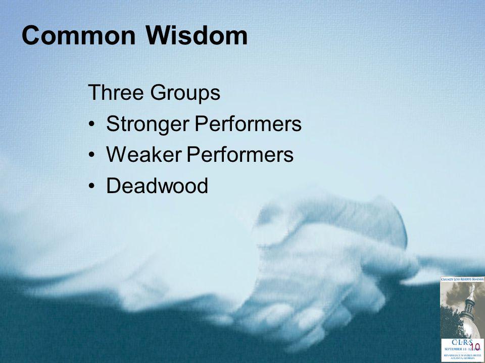 10 Common Wisdom Three Groups Stronger Performers Weaker Performers Deadwood