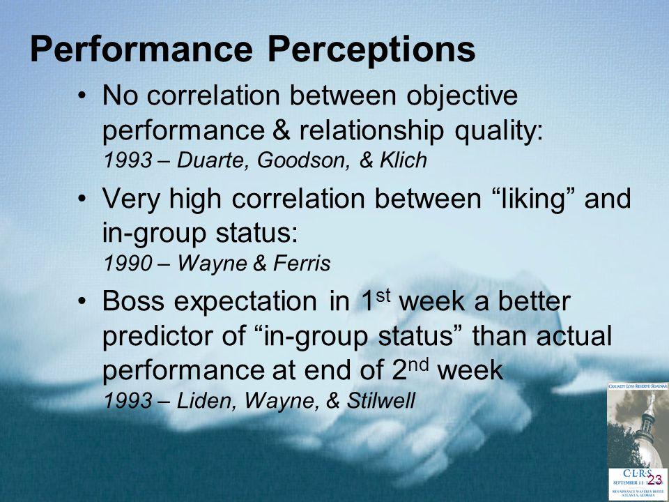 23 Performance Perceptions No correlation between objective performance & relationship quality: 1993 – Duarte, Goodson, & Klich Very high correlation