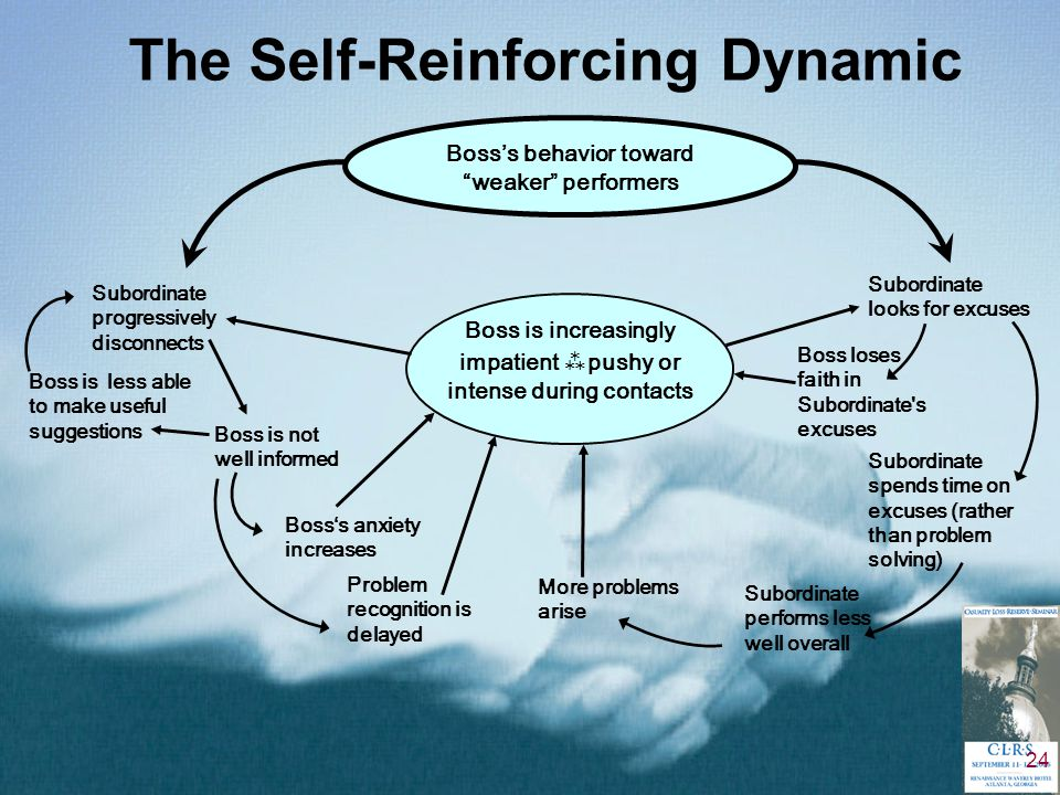 24 The Self-Reinforcing Dynamic Boss's behavior toward weaker performers Boss is increasingly impatient   pushy or intense during contacts Subordinate progressively disconnects Subordinate looks for excuses Boss is not well informed Boss is less able to make useful suggestions Boss's anxiety increases Problem recognition is delayed More problems arise Subordinate performs less well overall Subordinate spends time on excuses (rather than problem solving) Boss loses faith in Subordinate s excuses