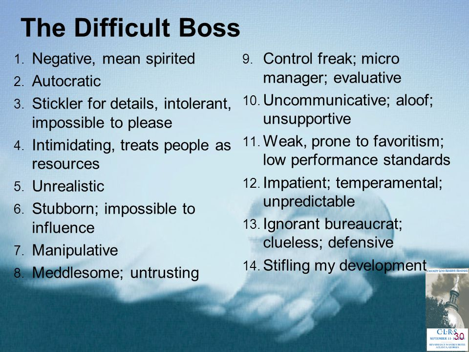30 The Difficult Boss 1.Negative, mean spirited 2.