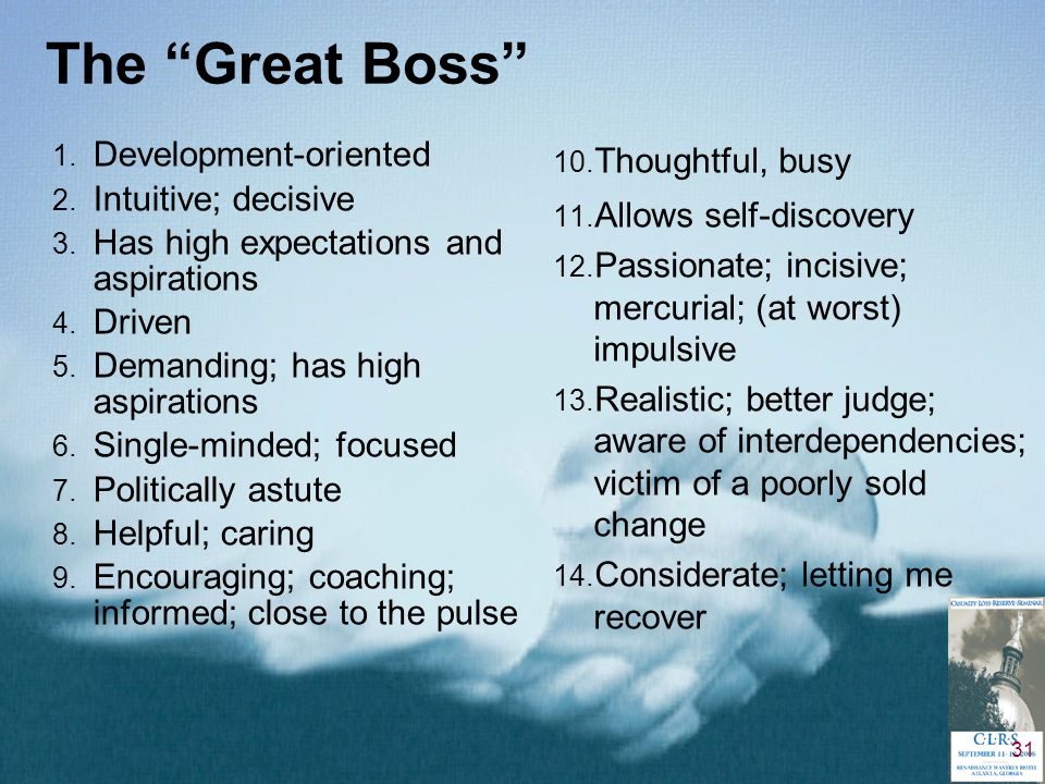 31 The Great Boss 1. Development-oriented 2. Intuitive; decisive 3.