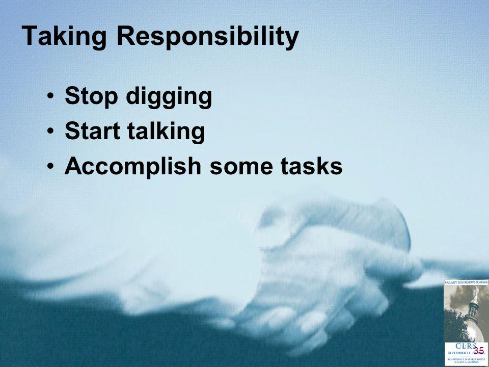 35 Taking Responsibility Stop digging Start talking Accomplish some tasks