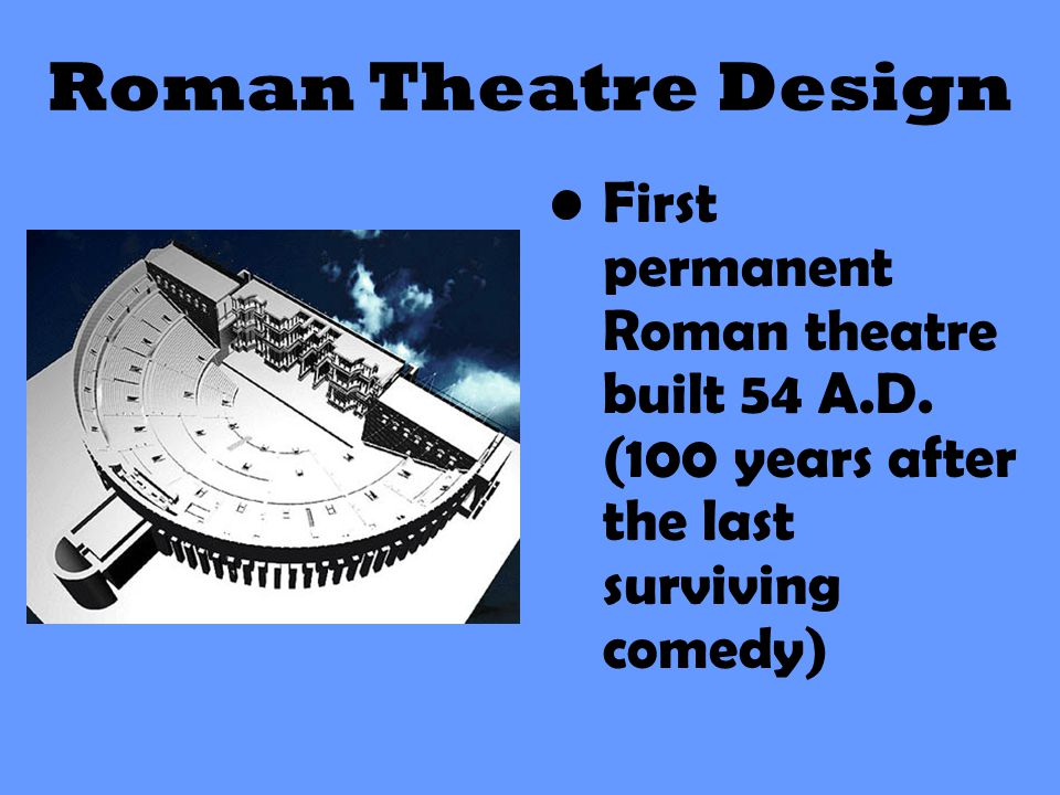 First permanent Roman theatre built 54 A.D. (100 years after the last surviving comedy)