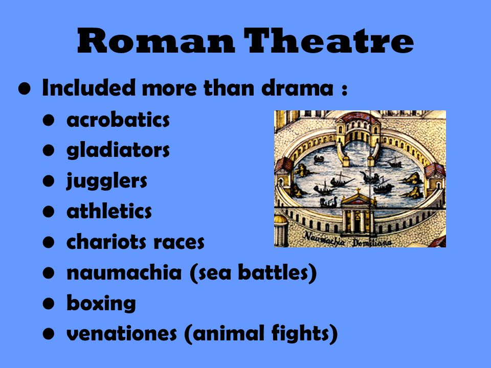 Included more than drama : acrobatics gladiators jugglers athletics chariots races naumachia (sea battles) boxing venationes (animal fights) Roman The