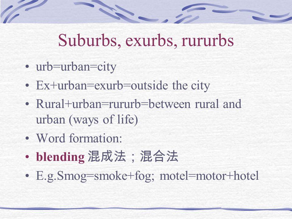 Suburbs, exurbs, rururbs urb=urban=city Ex+urban=exurb=outside the city Rural+urban=rururb=between rural and urban (ways of life) Word formation: blen