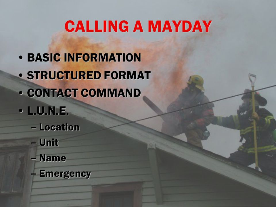 CALLING A MAYDAY BASIC INFORMATIONBASIC INFORMATION STRUCTURED FORMATSTRUCTURED FORMAT CONTACT COMMANDCONTACT COMMAND L.U.N.E.L.U.N.E.