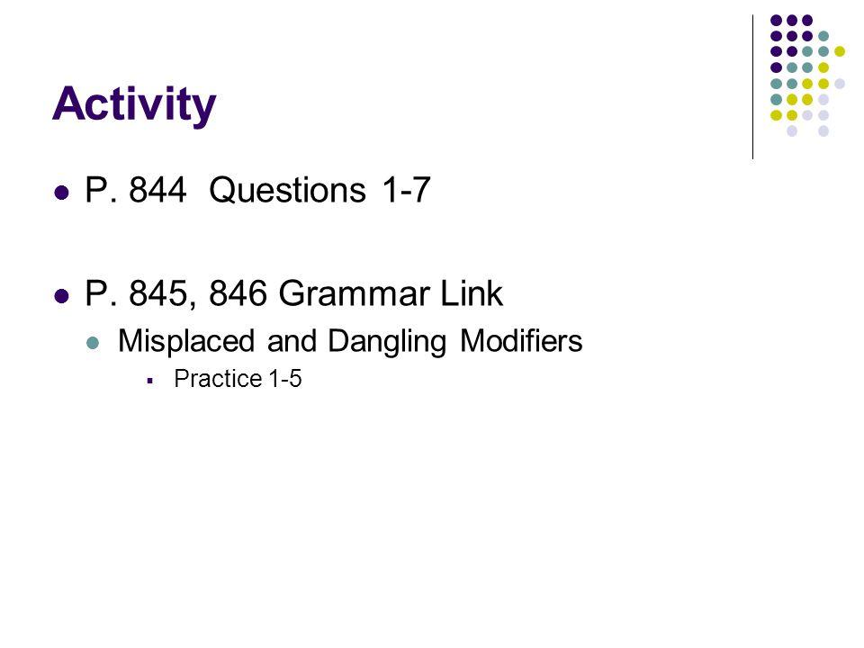 Activity P.844 Questions 1-7 P.