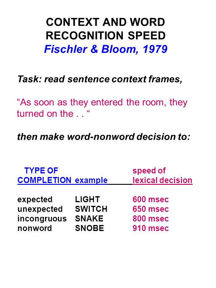 """CONTEXT AND WORD RECOGNITION SPEED Fischler & Bloom, 1979 Task: read sentence context frames, """"As soon as they entered the room, they turned on the.."""