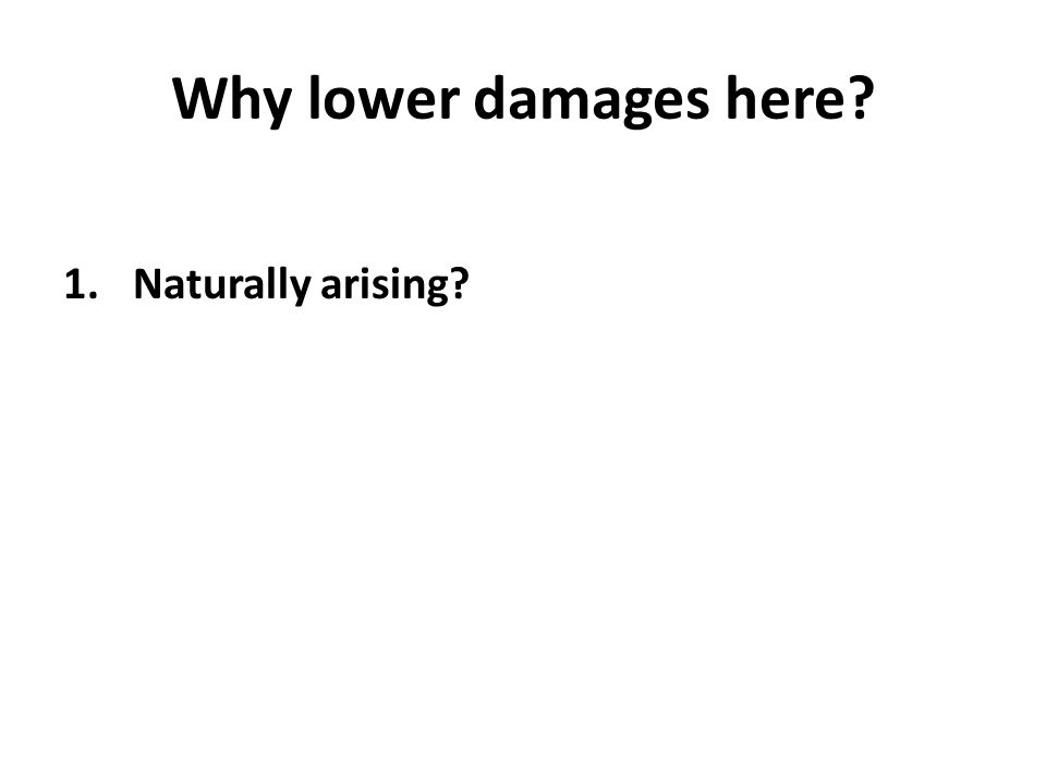 Why lower damages here 1.Naturally arising