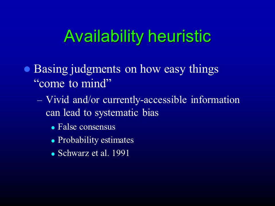 Different types of heuristics Availability Heuristic Representativeness Anchoring and adjustment