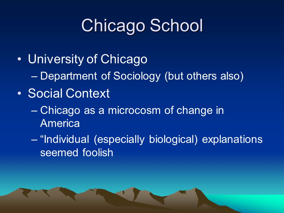 Chicago School University of Chicago –Department of Sociology (but others also) Social Context –Chicago as a microcosm of change in America – Individual (especially biological) explanations seemed foolish