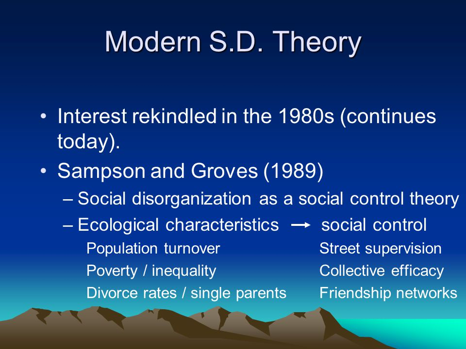 Modern S.D. Theory Interest rekindled in the 1980s (continues today).