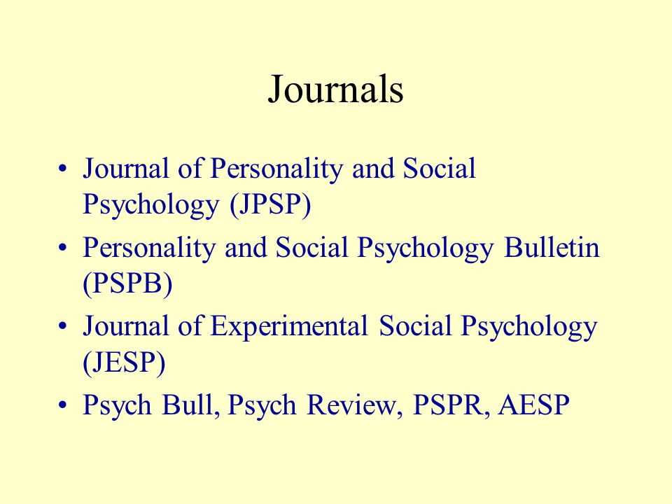 Societies Society for Personality and Social Psychology (SPSP) Society of Experimental Social Psychologists (SESP) www.socialpsychology.org