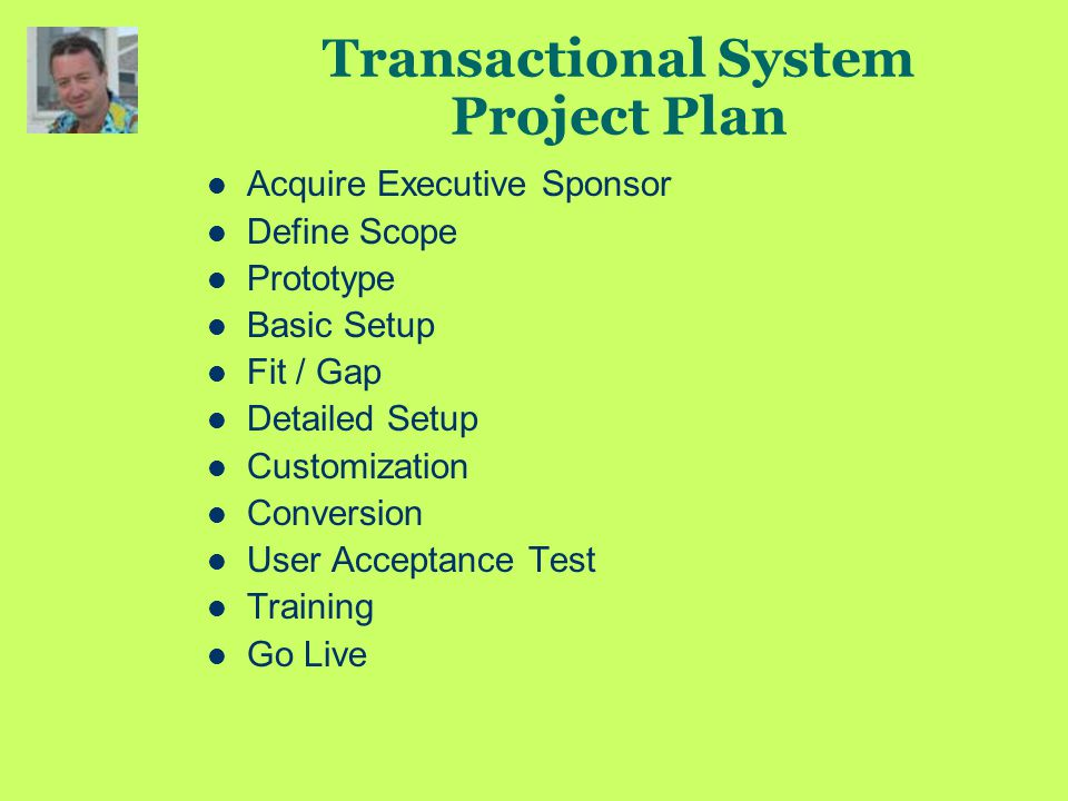 Transactional System Project Plan Acquire Executive Sponsor Define Scope Prototype Basic Setup Fit / Gap Detailed Setup Customization Conversion User Acceptance Test Training Go Live