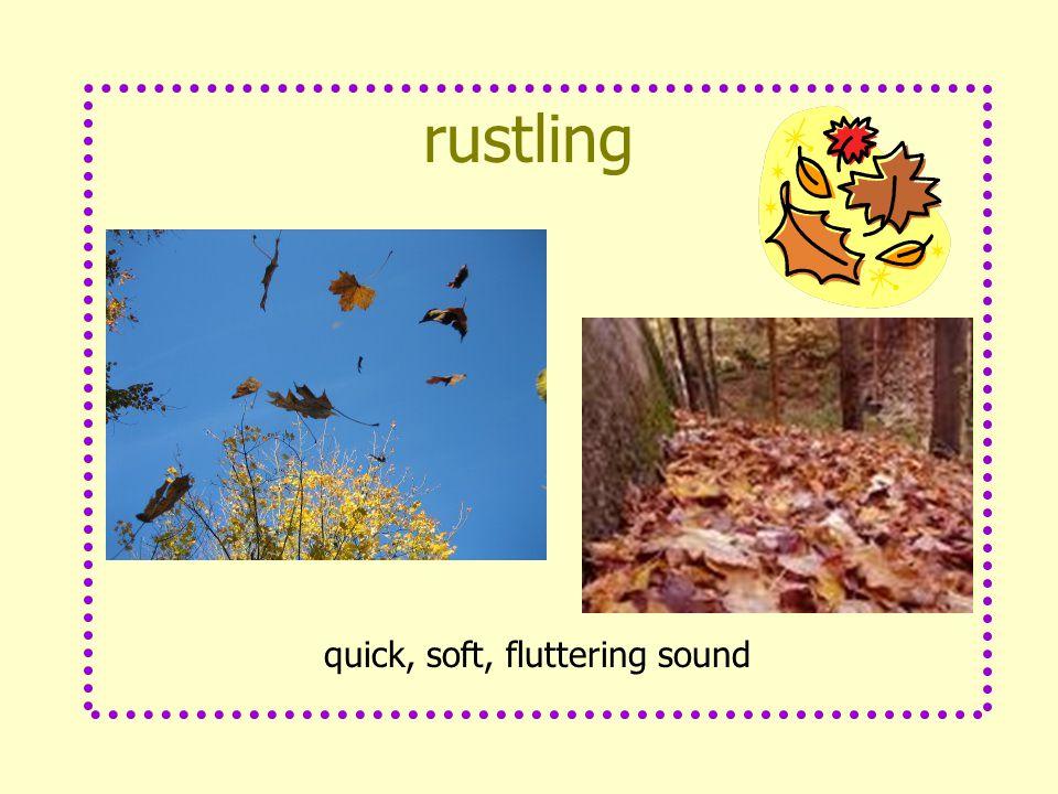 rustling quick, soft, fluttering sound