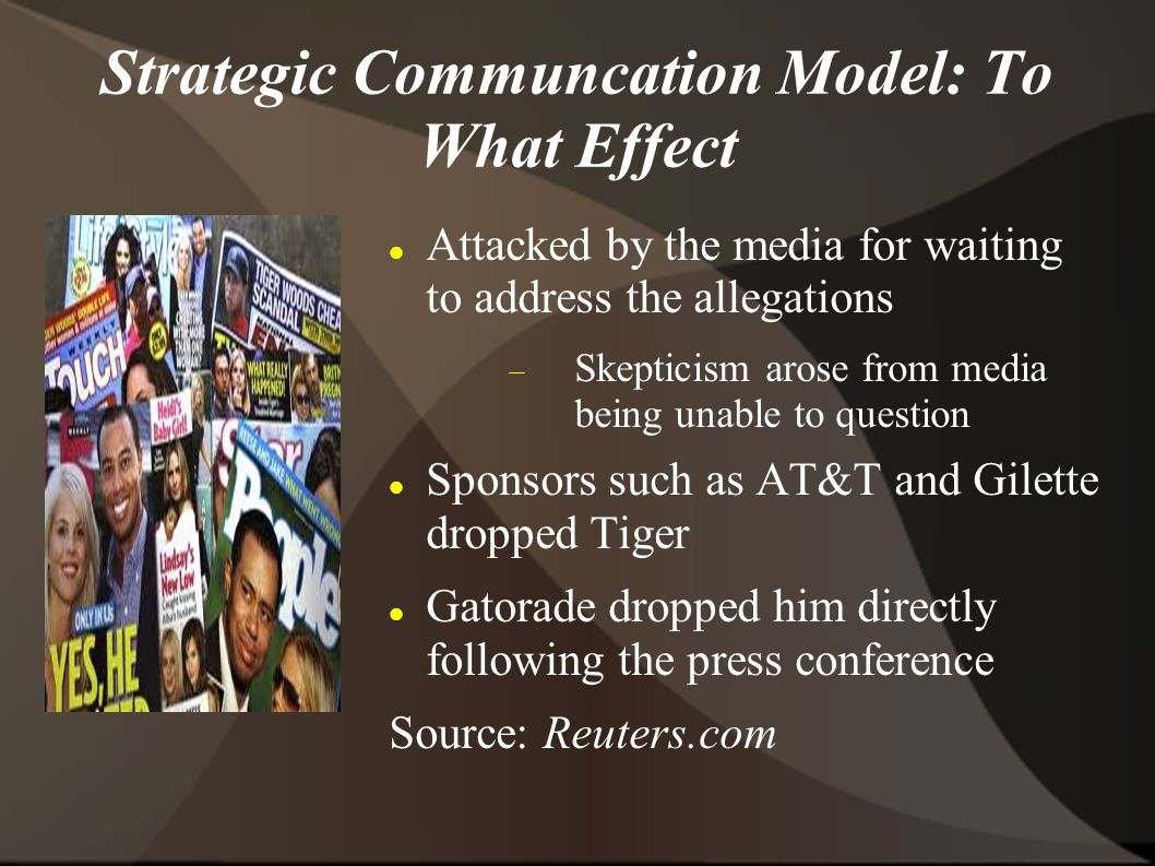 Strategic Communcation Model: To What Effect Attacked by the media for waiting to address the allegations  Skepticism arose from media being unable to question Sponsors such as AT&T and Gilette dropped Tiger Gatorade dropped him directly following the press conference Source: Reuters.com
