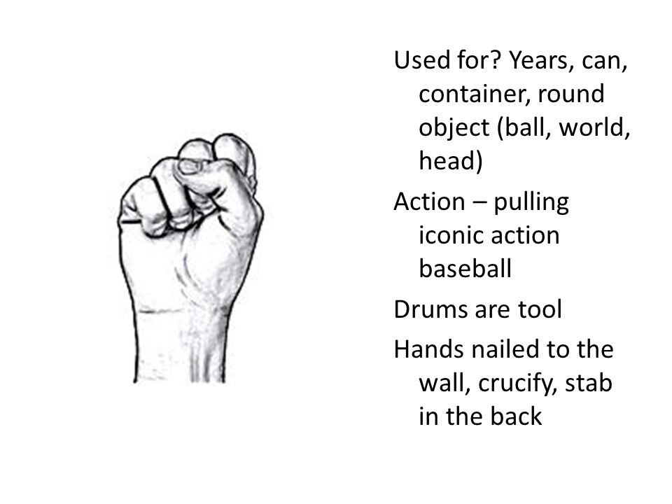 Used for? Years, can, container, round object (ball, world, head) Action – pulling iconic action baseball Drums are tool Hands nailed to the wall, cru