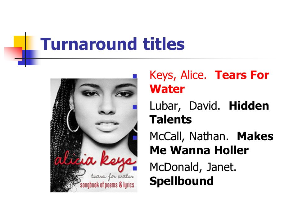 Turnaround titles Keys, Alice. Tears For Water Lubar, David.