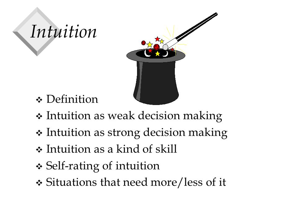 Intuition v Definition v Intuition as weak decision making v Intuition as strong decision making v Intuition as a kind of skill v Self-rating of intuition v Situations that need more/less of it