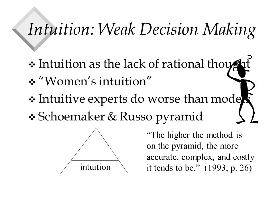 Intuition: Weak Decision Making v Intuition as the lack of rational thought v Women's intuition v Intuitive experts do worse than models v Schoemaker & Russo pyramid intuition The higher the method is on the pyramid, the more accurate, complex, and costly it tends to be. (1993, p.