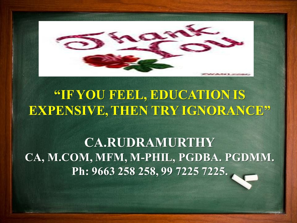 """""""IF YOU FEEL, EDUCATION IS EXPENSIVE, THEN TRY IGNORANCE"""" CA.RUDRAMURTHY CA, M.COM, MFM, M-PHIL, PGDBA. PGDMM. Ph: 9663 258 258, 99 7225 7225. 19"""