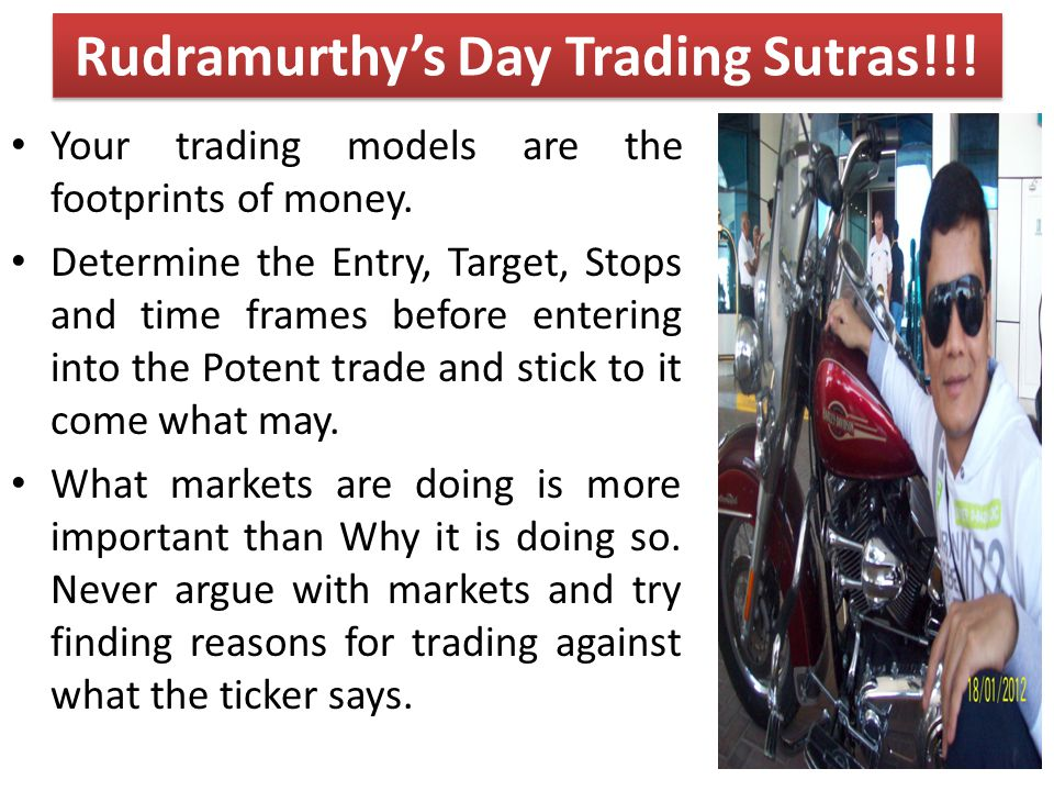 Your trading models are the footprints of money. Determine the Entry, Target, Stops and time frames before entering into the Potent trade and stick to